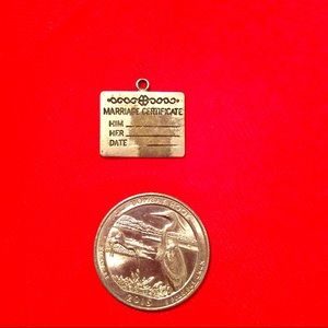 Marriage certificate charm Wellster sterling Vtg